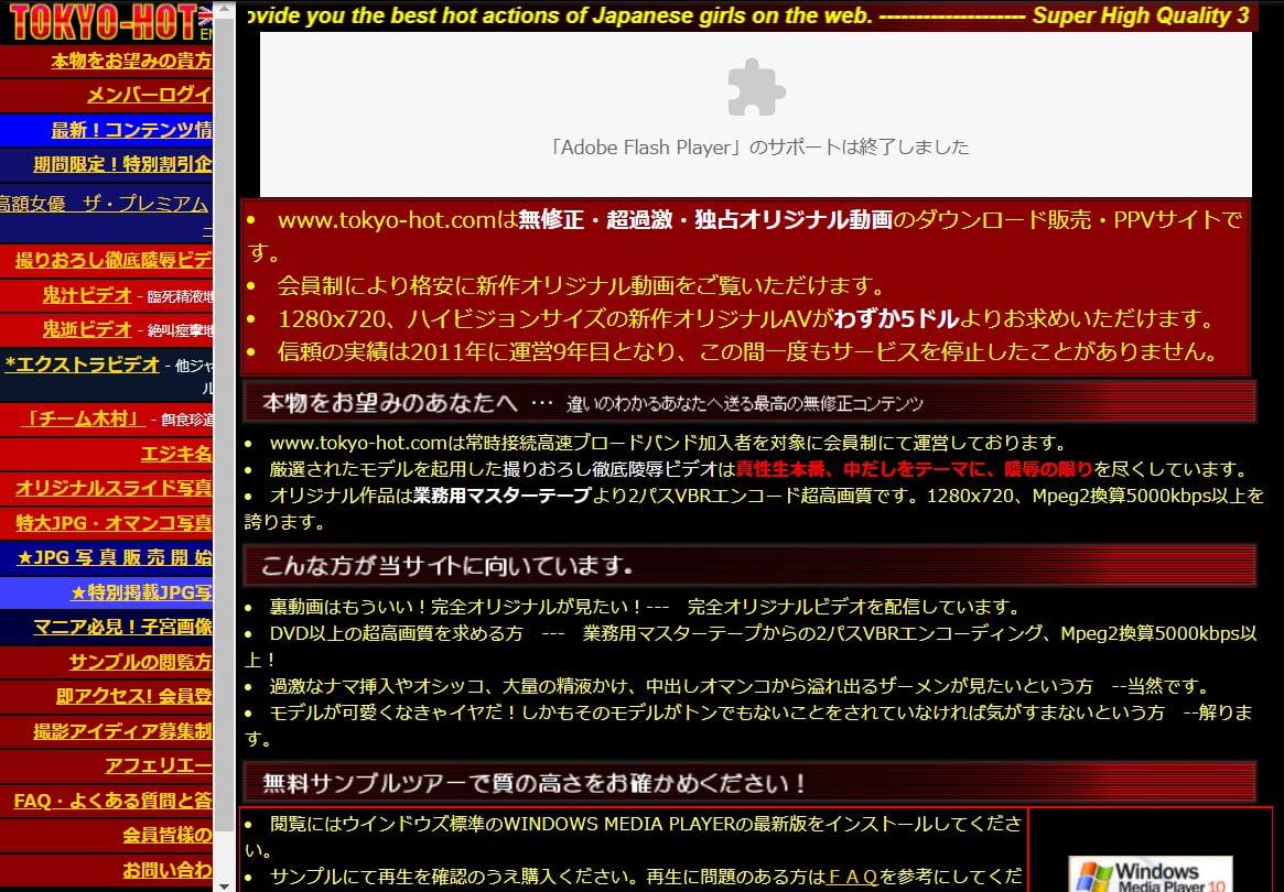 TokyoHotはアダルトサイト